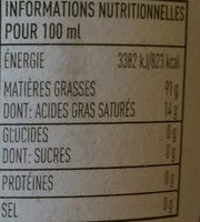 Huile d'olive bio vierge extra Carapelli - Nutrition facts