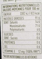 Huile d'olive - Informations nutritionnelles - fr