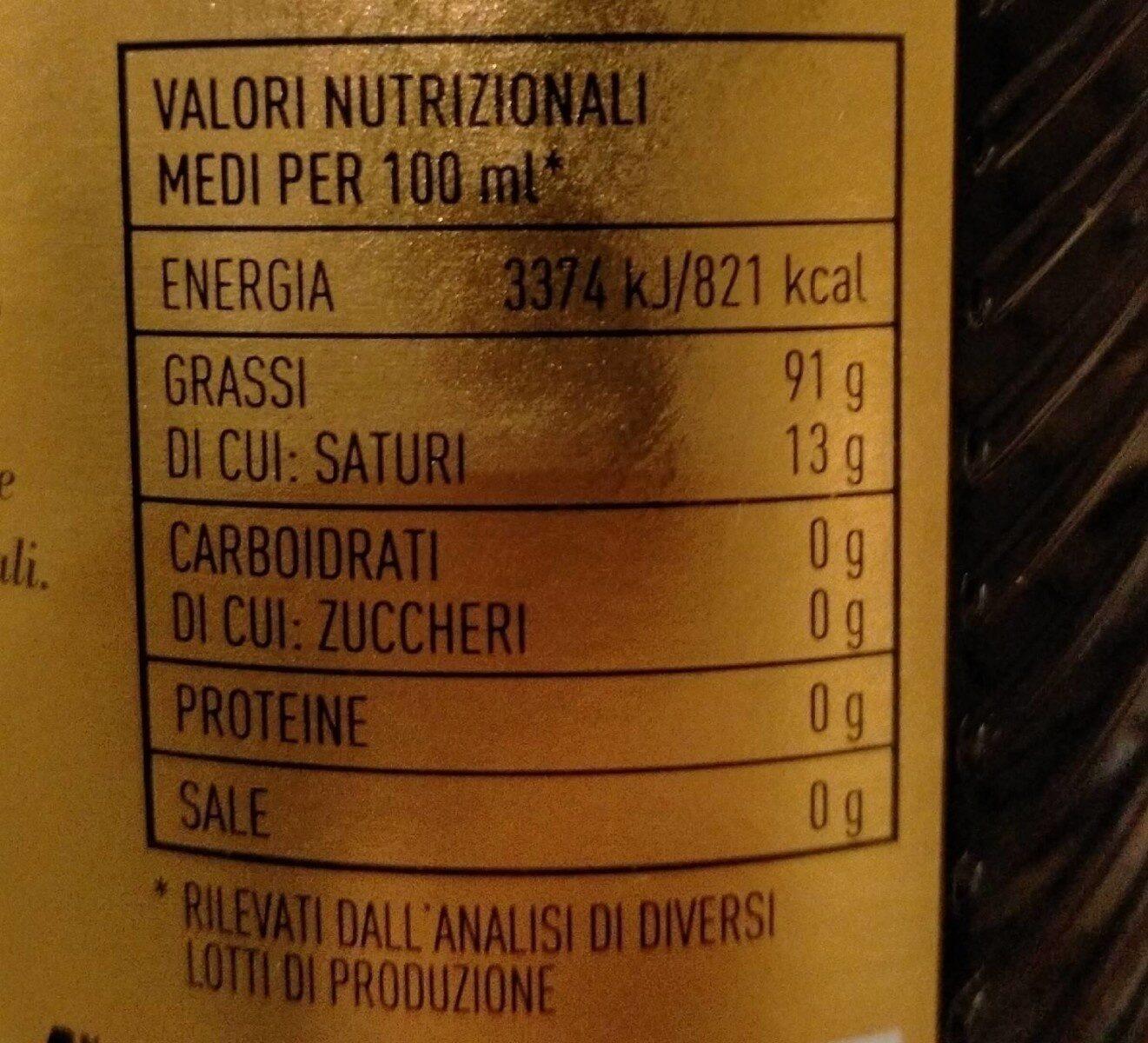 Olio Extra Vergine di Oliva Il Nobile - Informations nutritionnelles - fr