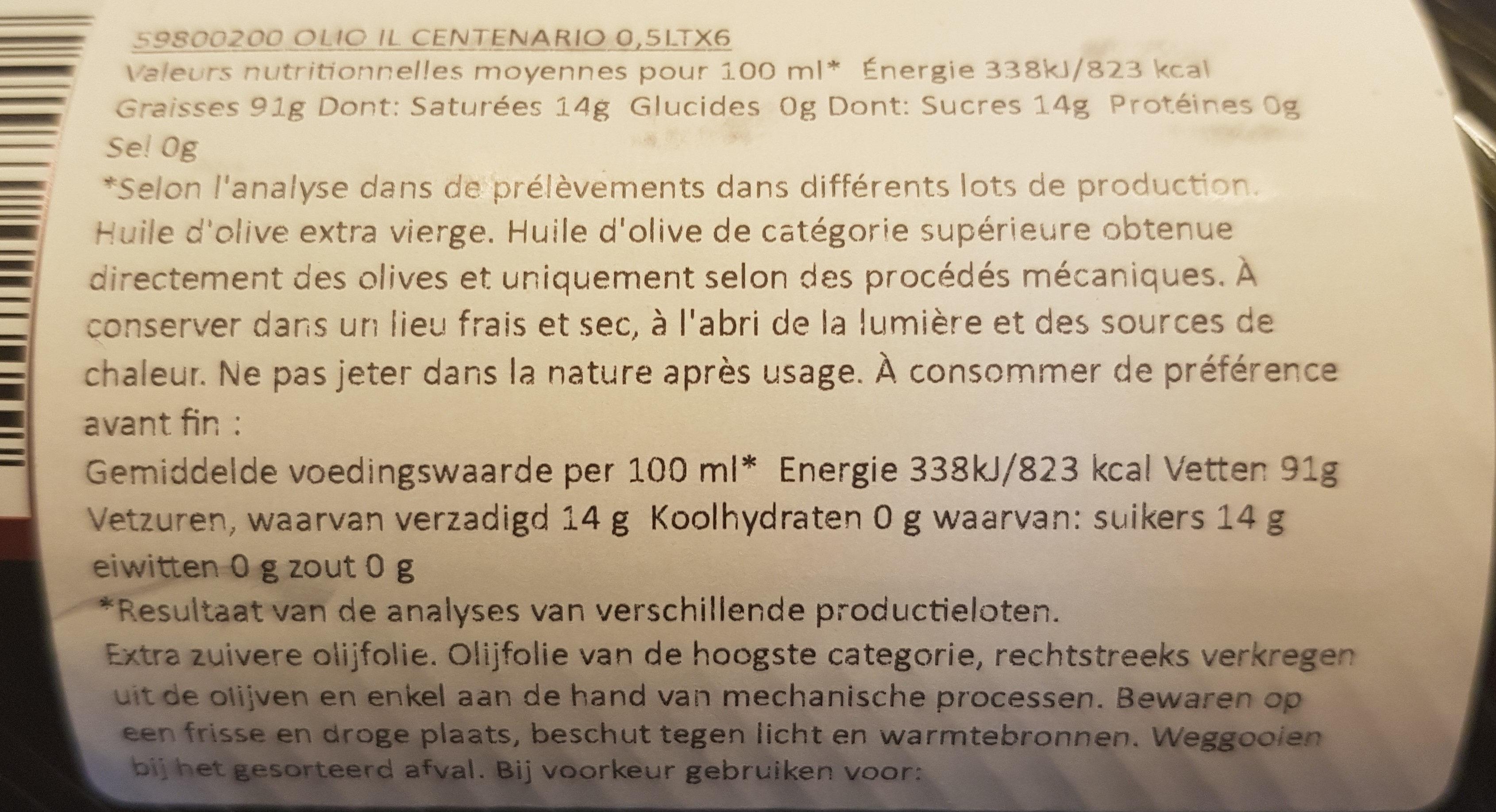 Il centenario - Ingredients - fr