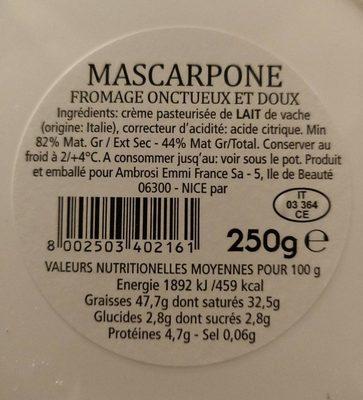 Mascarpone - Ingrédients