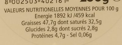 Mascarpone - Informations nutritionnelles