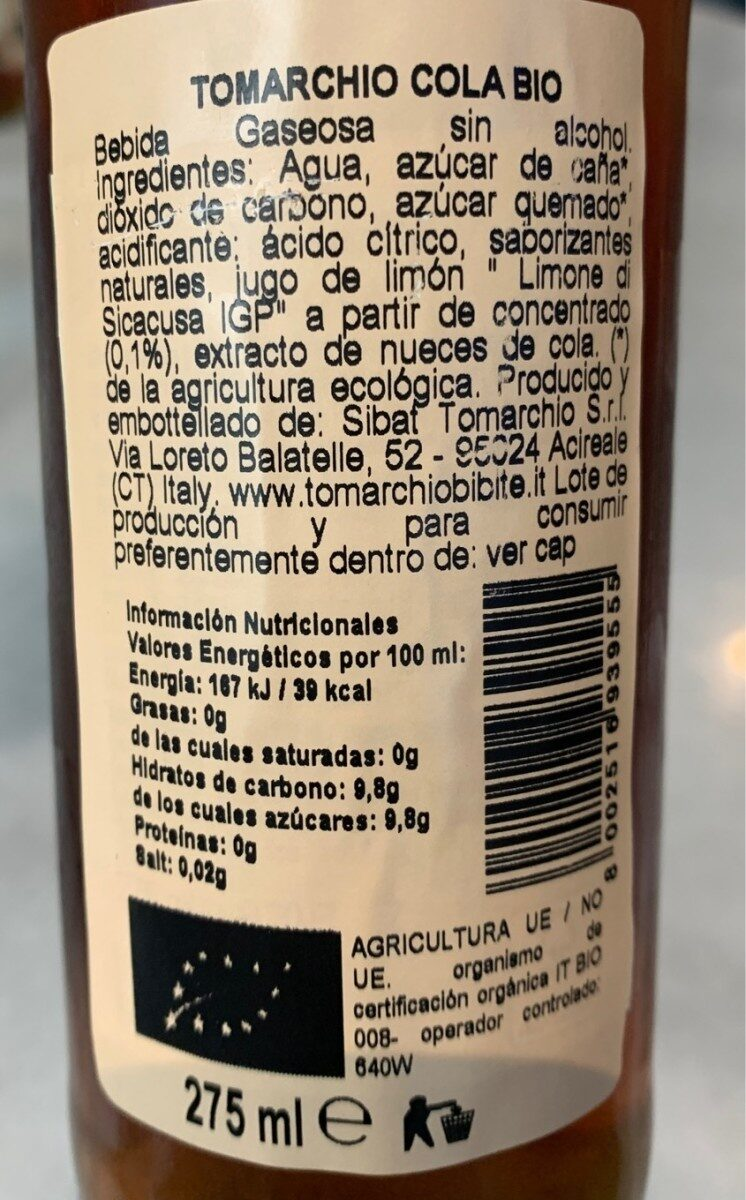 Organic Cola - Informations nutritionnelles - fr