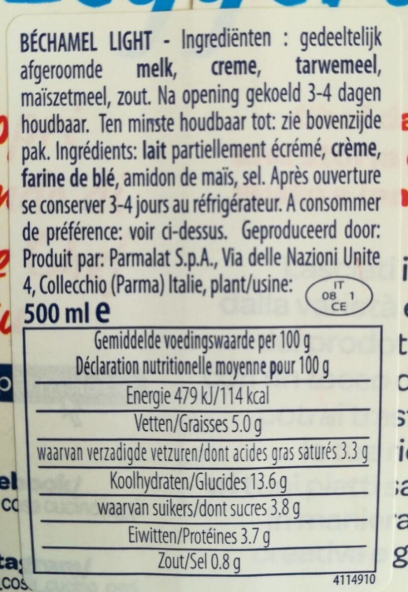 Parmalat Bechamèl Chef Light (500 ML) - Ingrédients - fr