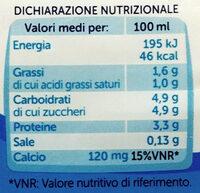 Latte parzialmente scremato UHT - Informations nutritionnelles
