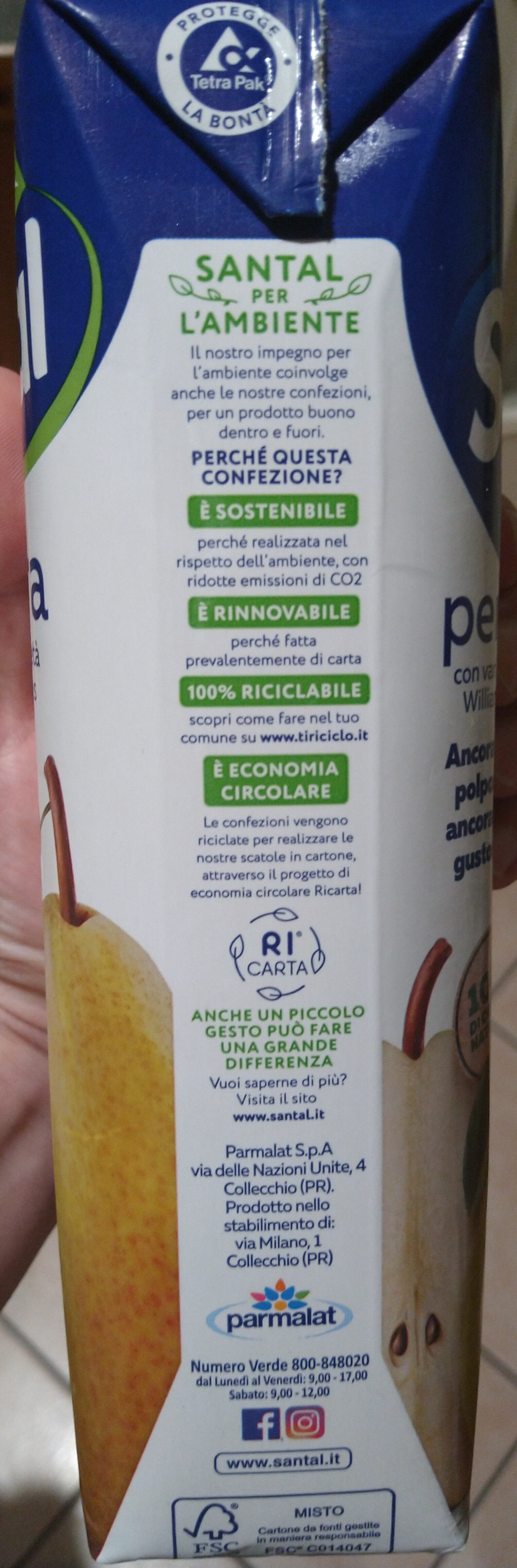Bevanda a base di purea di Pera da concentrato (frutto: 50% minimo) - Istruzioni per il riciclaggio e/o informazioni sull'imballaggio - it
