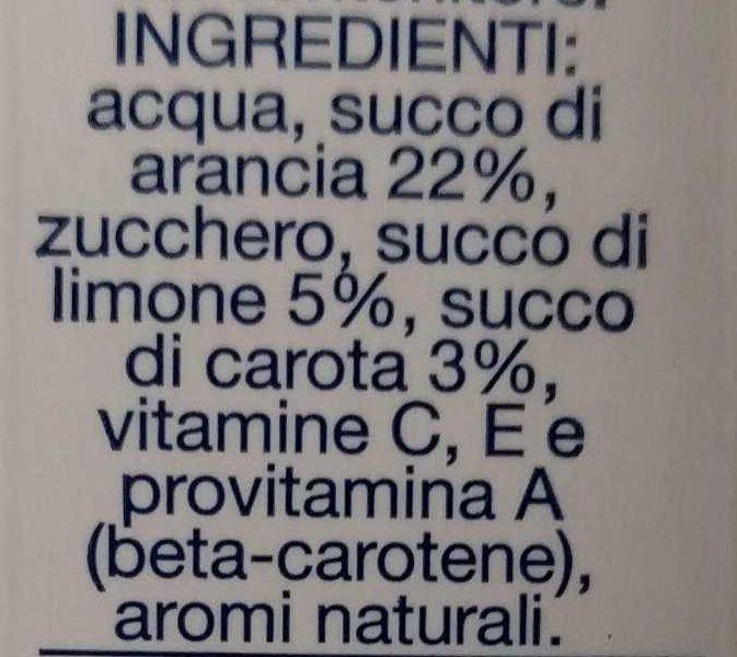 Santal Succo Ace - Ingredienti