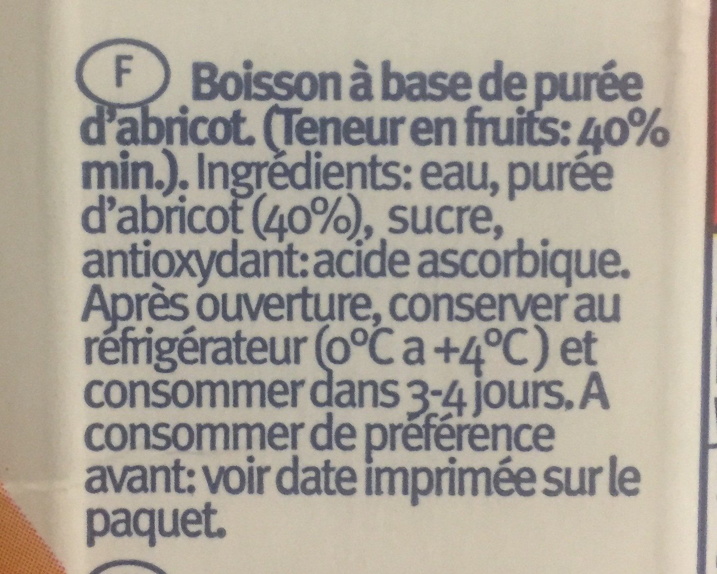 Santal Prisma Apricot - Ingrédients - fr