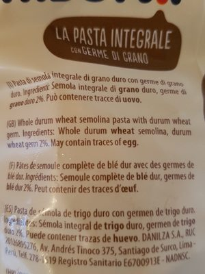 Tortiglioni Integrali - Ingredienti