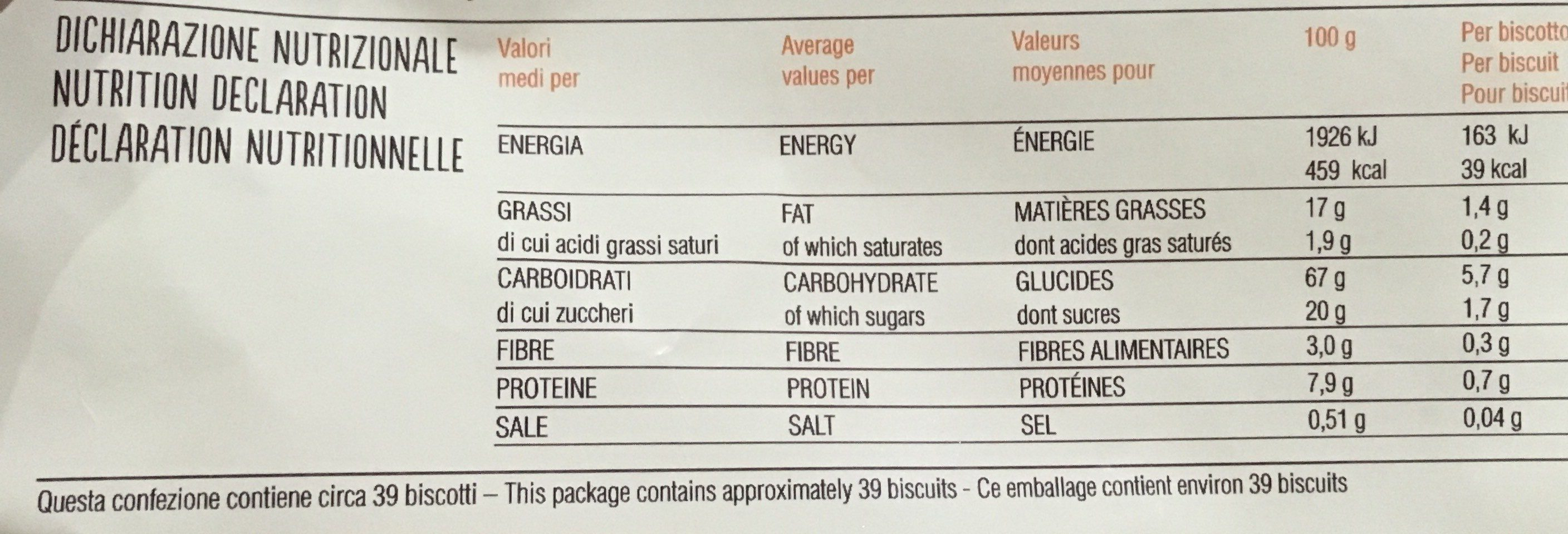 Multigrain - Biscotti ai 6 cereali - Nutrition facts