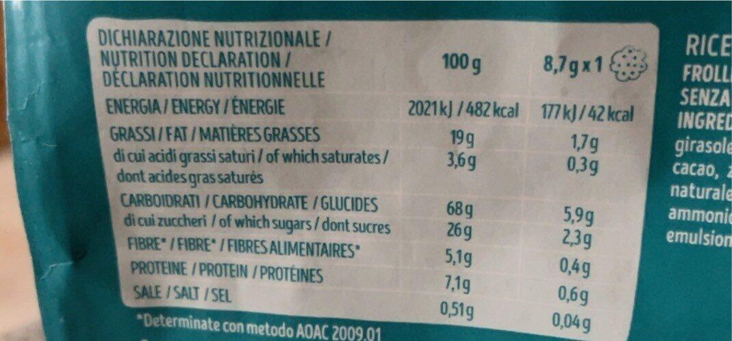 Privolat biscotti con gocce di cioccolato - Información nutricional - es