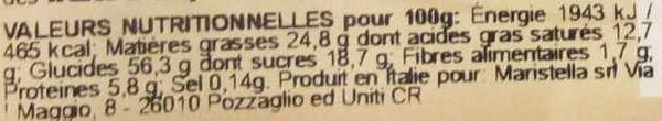 Bontà di Pasticceria - Informations nutritionnelles