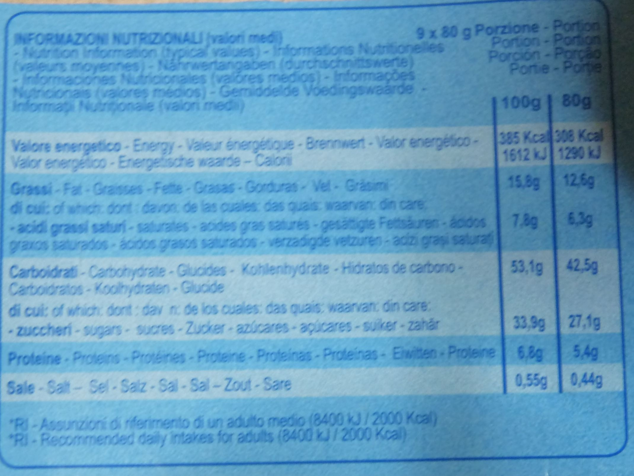 Melegatti Panettone due delizie - Nutrition facts - it