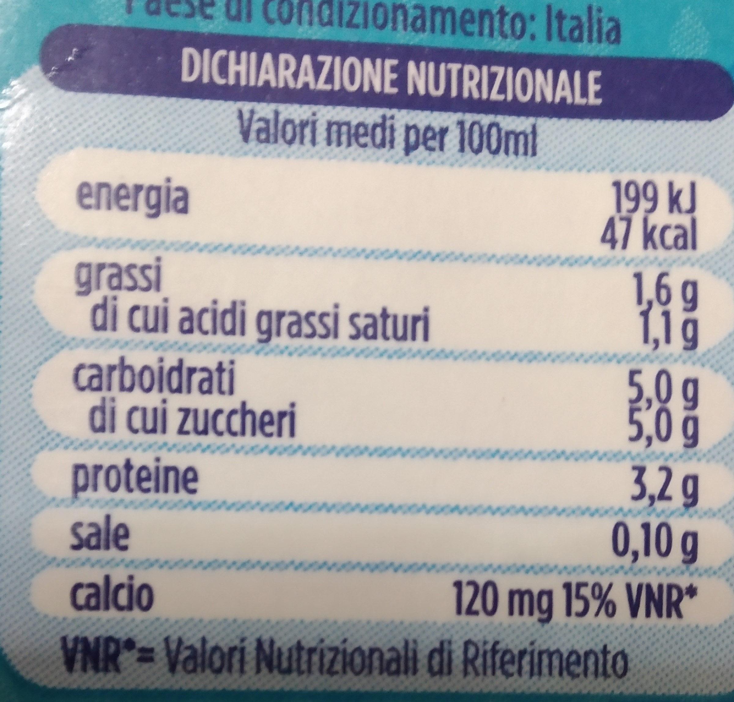 Granarolo bontà leggera latte parzialmente scremato - Voedingswaarden - it