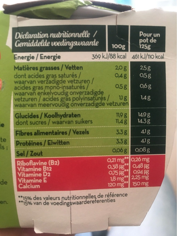 Dessert Soja Fraise - Informations nutritionnelles - fr