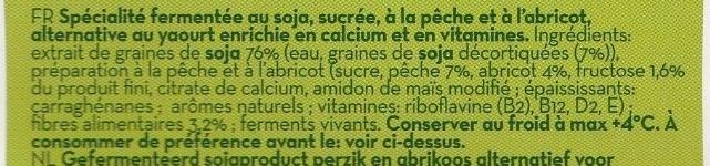 Soja Pêche et Abricot - Ingredients - fr