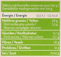 Tofu Bio - Voedingswaarden