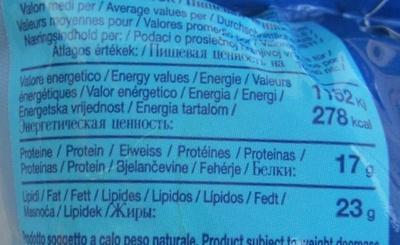 Mozzarella di Bufala Campana AOP (23% MG) - Voedingswaarden