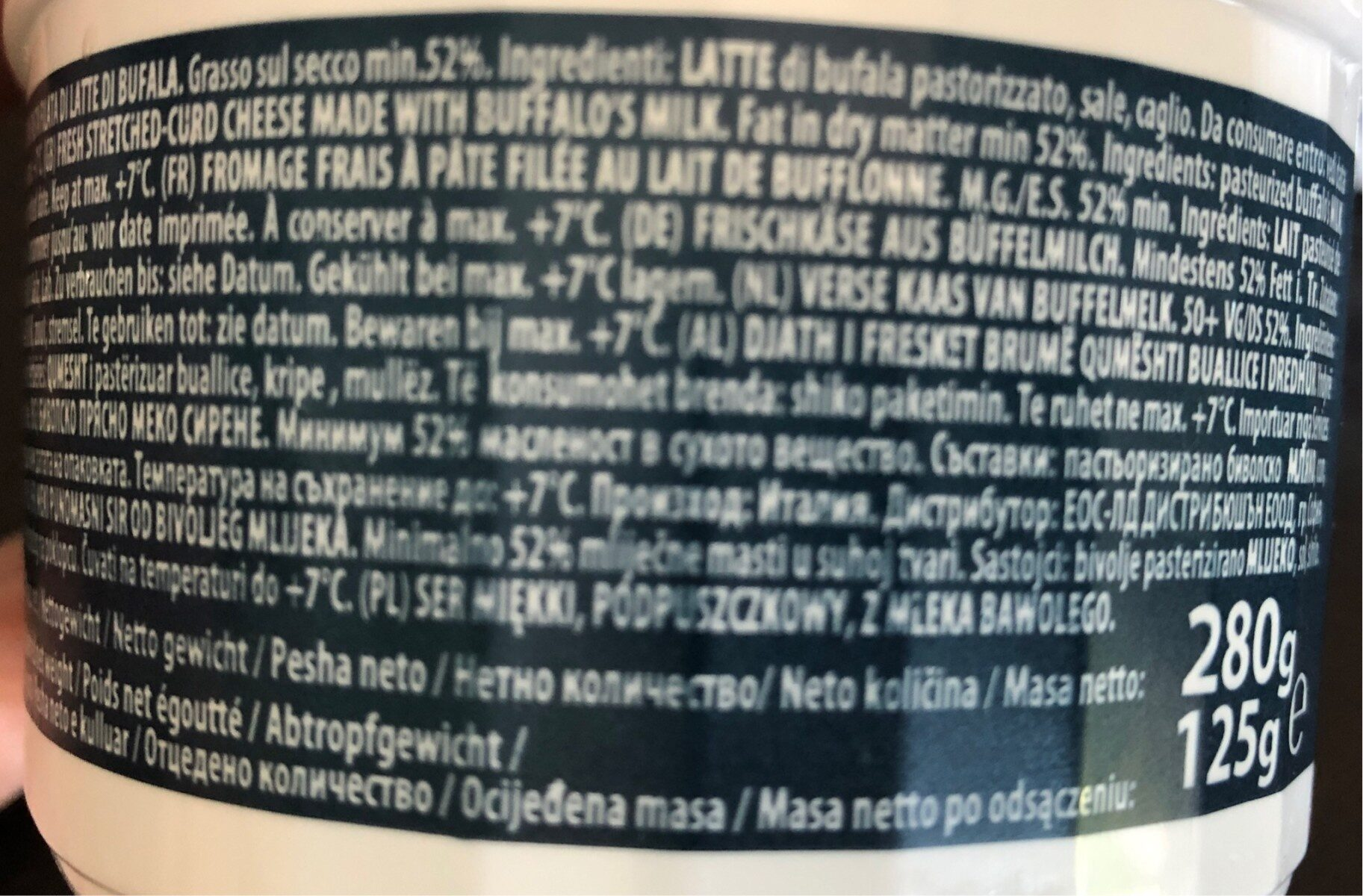 Zanetti Fresh Mozarella Cheese Buffalo Cup (125 G) - Ingredients