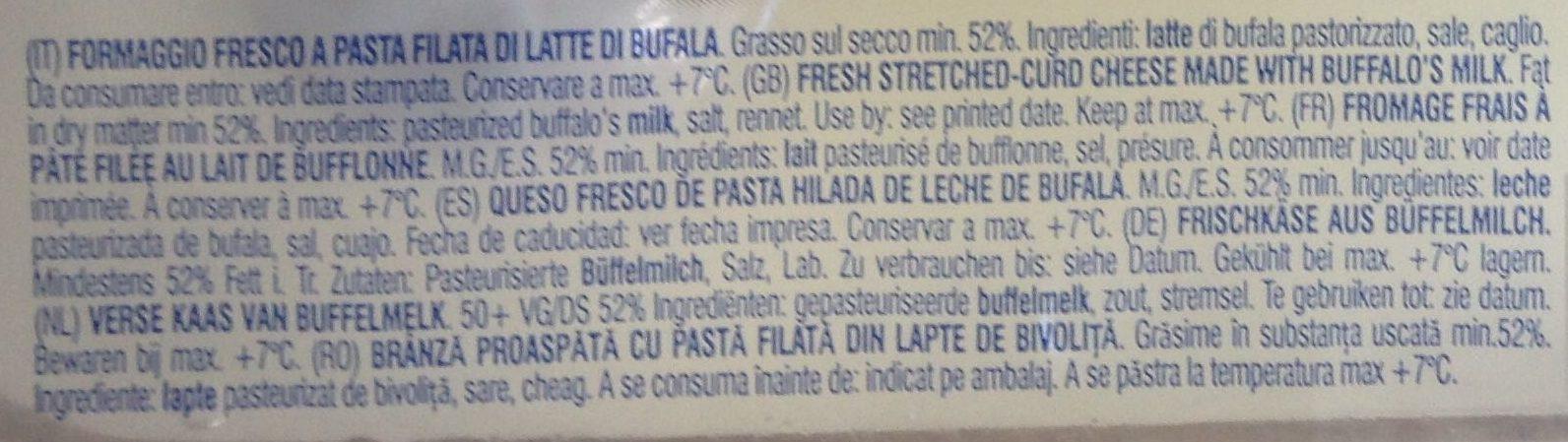 Mozarella di Bufala Campana DOP - Ingredients - fr