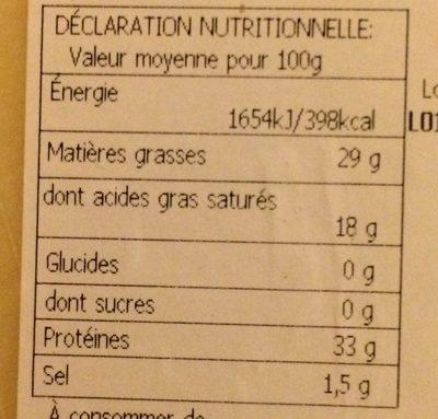 Grana Padano - Informations nutritionnelles