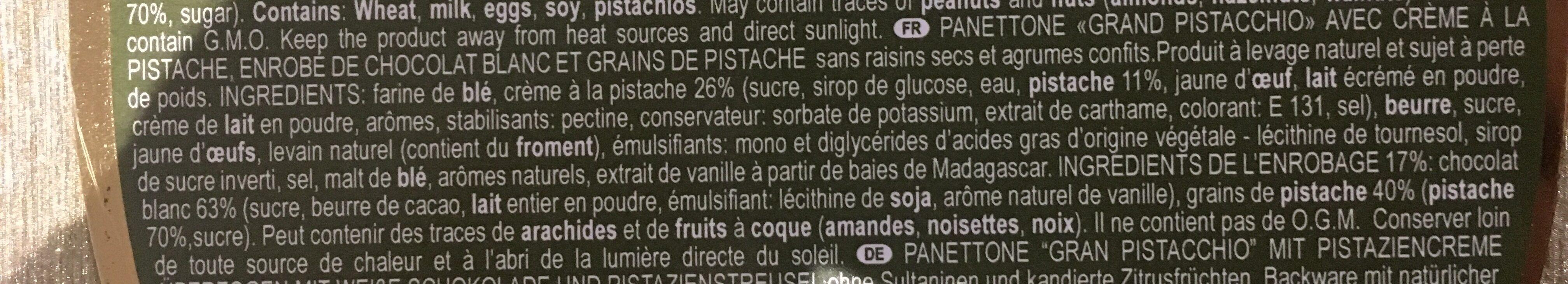 Panettone Artisanal Gran Pistacchio - Ingrédients