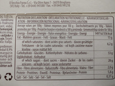 Panettone - Informations nutritionnelles