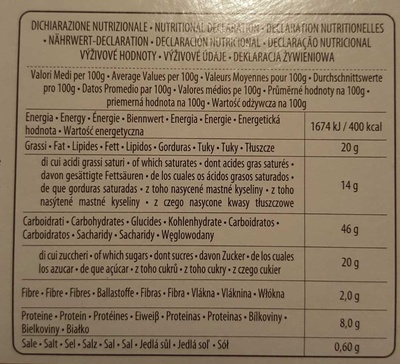 Pandoro - Nutrition facts - fr