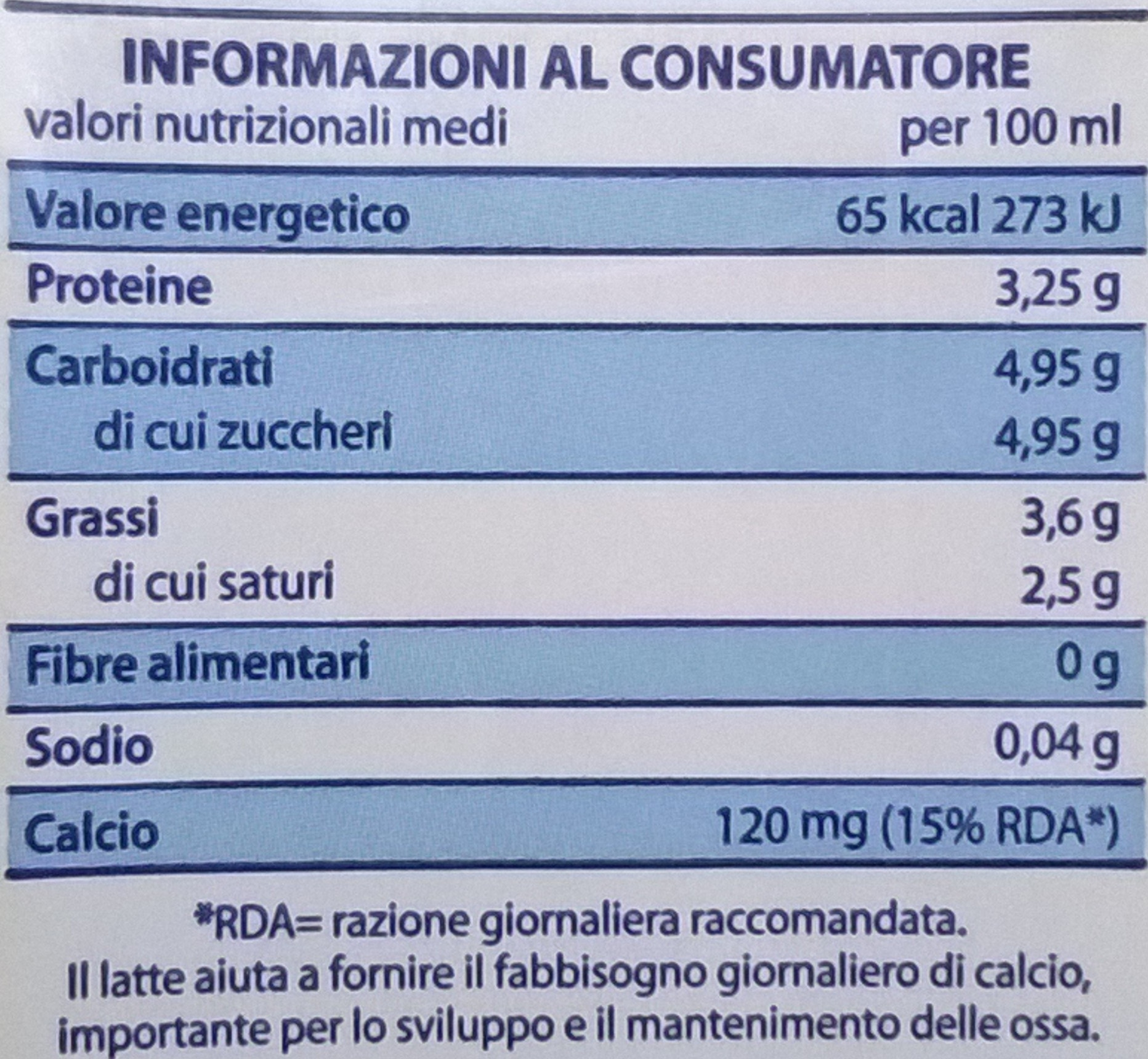 Latte intero microfiltrato UHT - Voedingswaarden - it