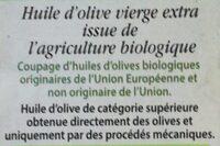 Huile d'olive vierge extra Biologique - Ingrédients - fr
