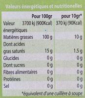 Huile d'olive vierge extra Biologique - Informations nutritionnelles - fr