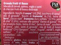 Granola frutti di bosco - Ingredients