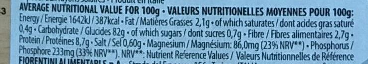 Organic cakes from black rice & turmeric - Valori nutrizionali - en