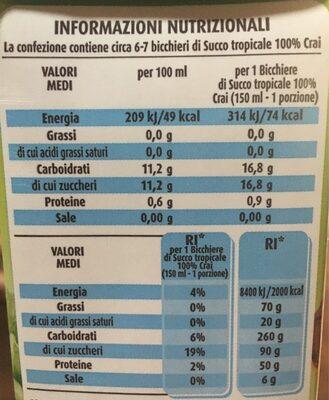 100% tropicale - Informations nutritionnelles - it