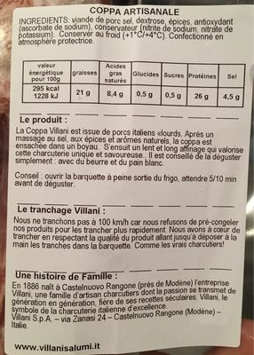 Coppa , 110g - Nutrition facts