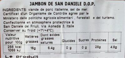 Jambon San Daniele Villani - Informations nutritionnelles - fr