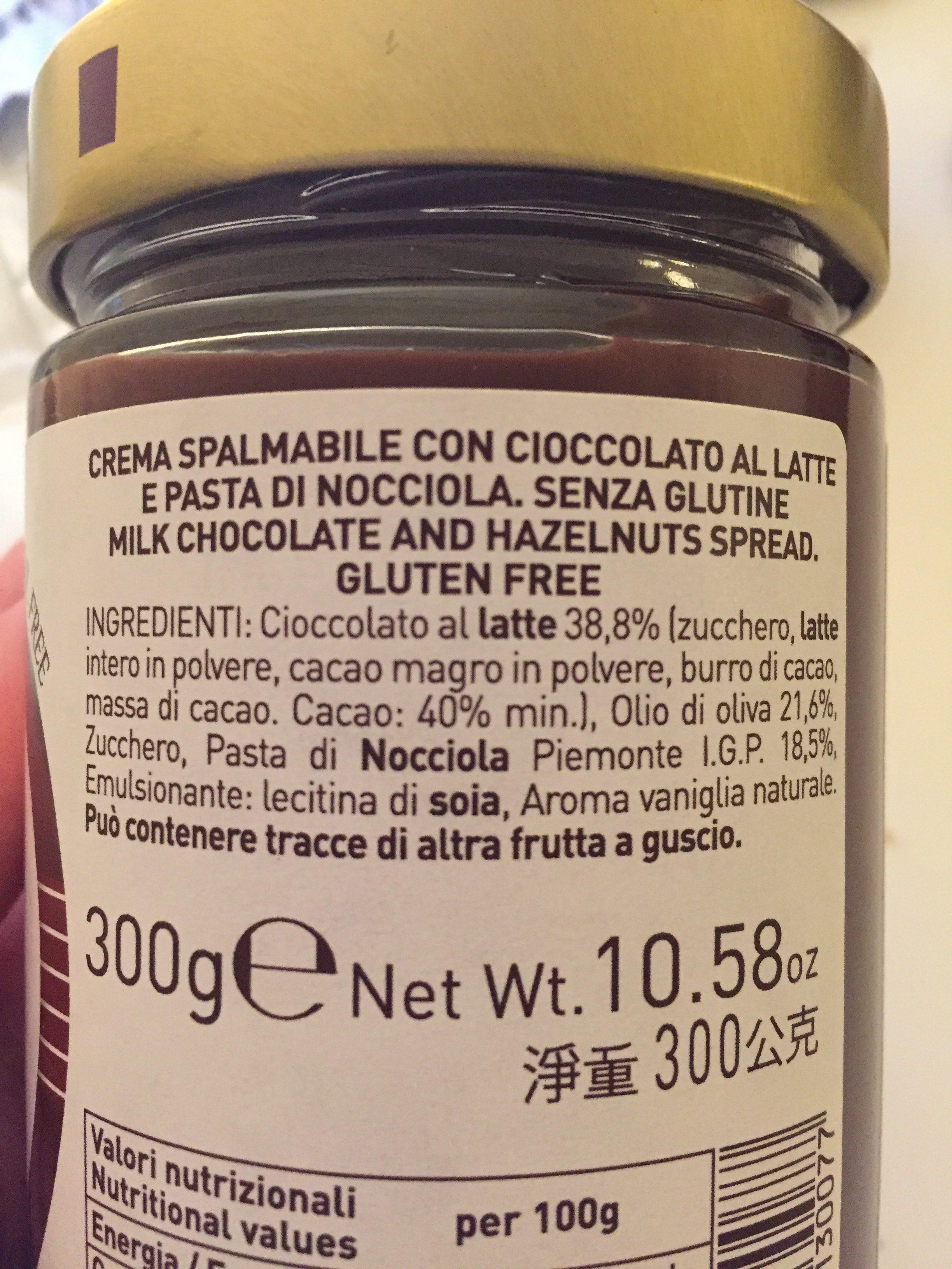 Suprema Cioccolato al latte in crema di nocciole e olio d'oliva - Ingrédients - it