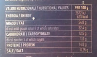 Tablette chocolat - Nutrition facts