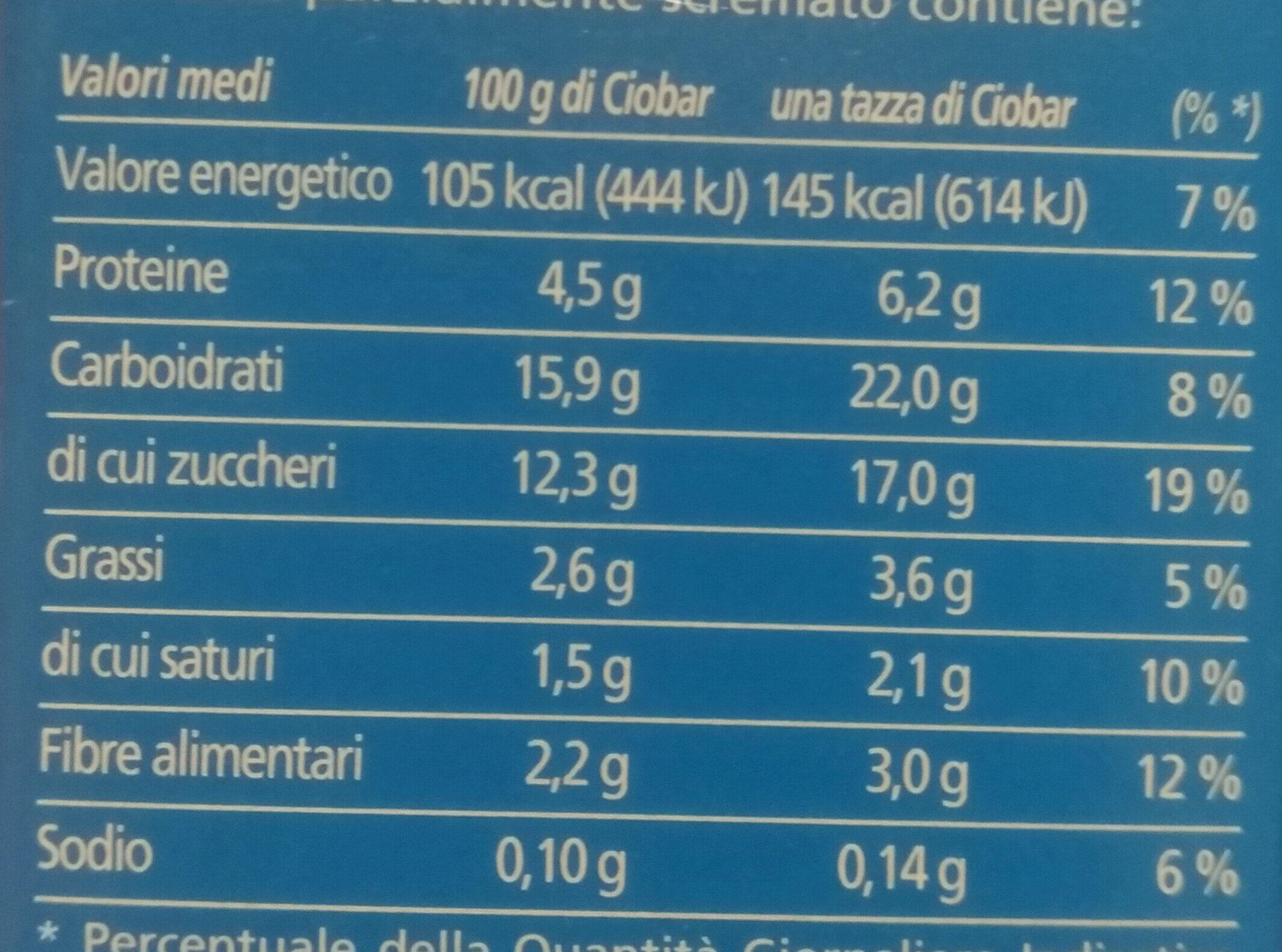 Cameo Ciobar Gusto fondente - Nutrition facts - it