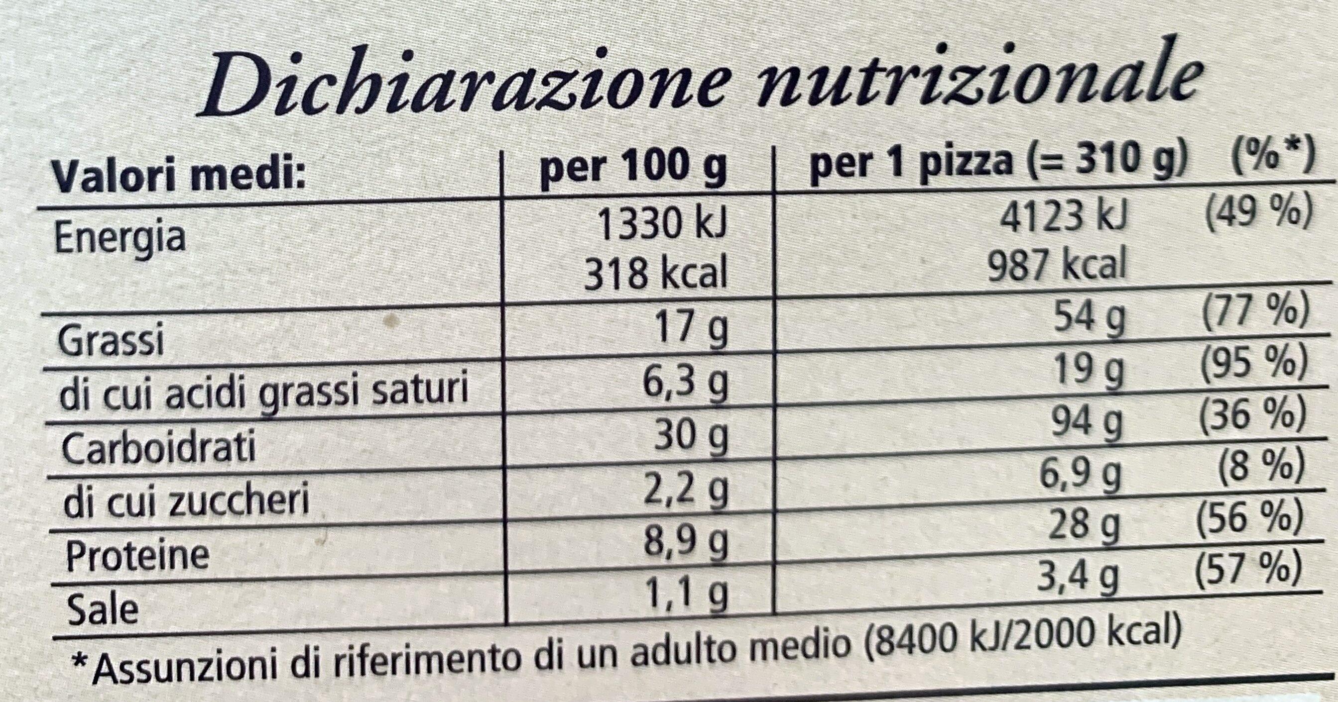Ristorante - Pizza bianca con prosciutto e patate - Voedingswaarden - it