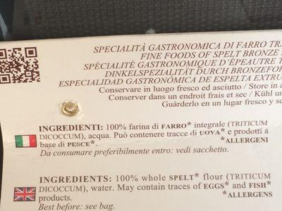 Pasta al farro - Ingrédients - en