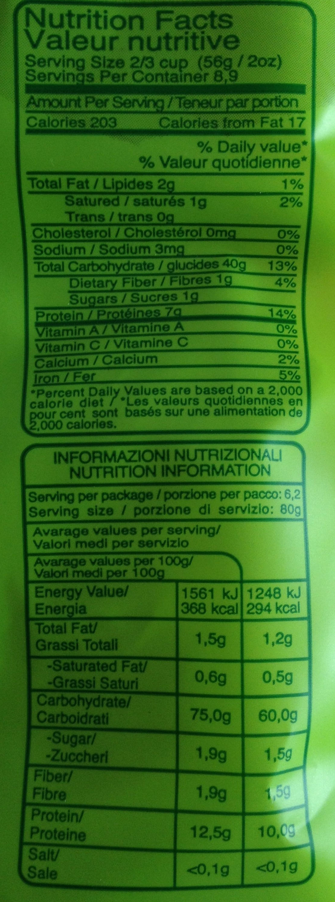 Pasta Biologica (Trafilata al bronzo) Torchietti - Nutrition facts - fr
