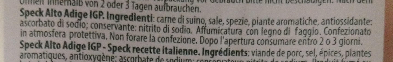 speck Alto Adige IGP - Ingrediënten - it