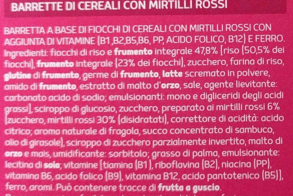 BARRETTE DI CEREALI mirtilli rossi - Ingrédients