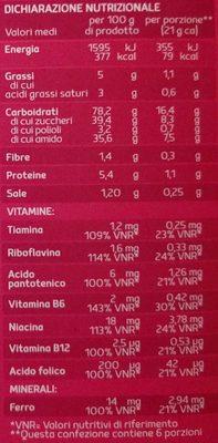 BARRETTE DI CEREALI mirtilli rossi - Informations nutritionnelles