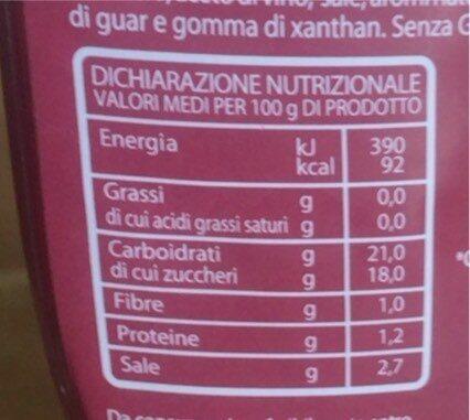 Ketchup squezze - Valori nutrizionali - it