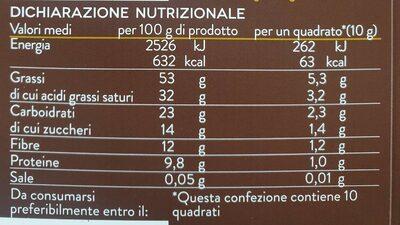Tavoletta cioccolato fondente - Informazioni nutrizionali - fr