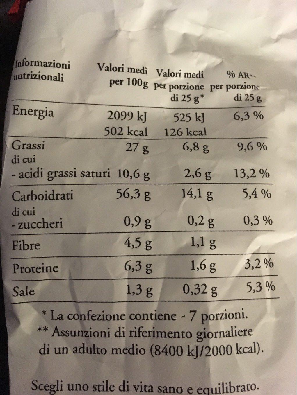 Patatine Classiche - Informazioni nutrizionali