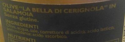 Olive la Bella di Cerignola in salamoia - Ingrédients - fr