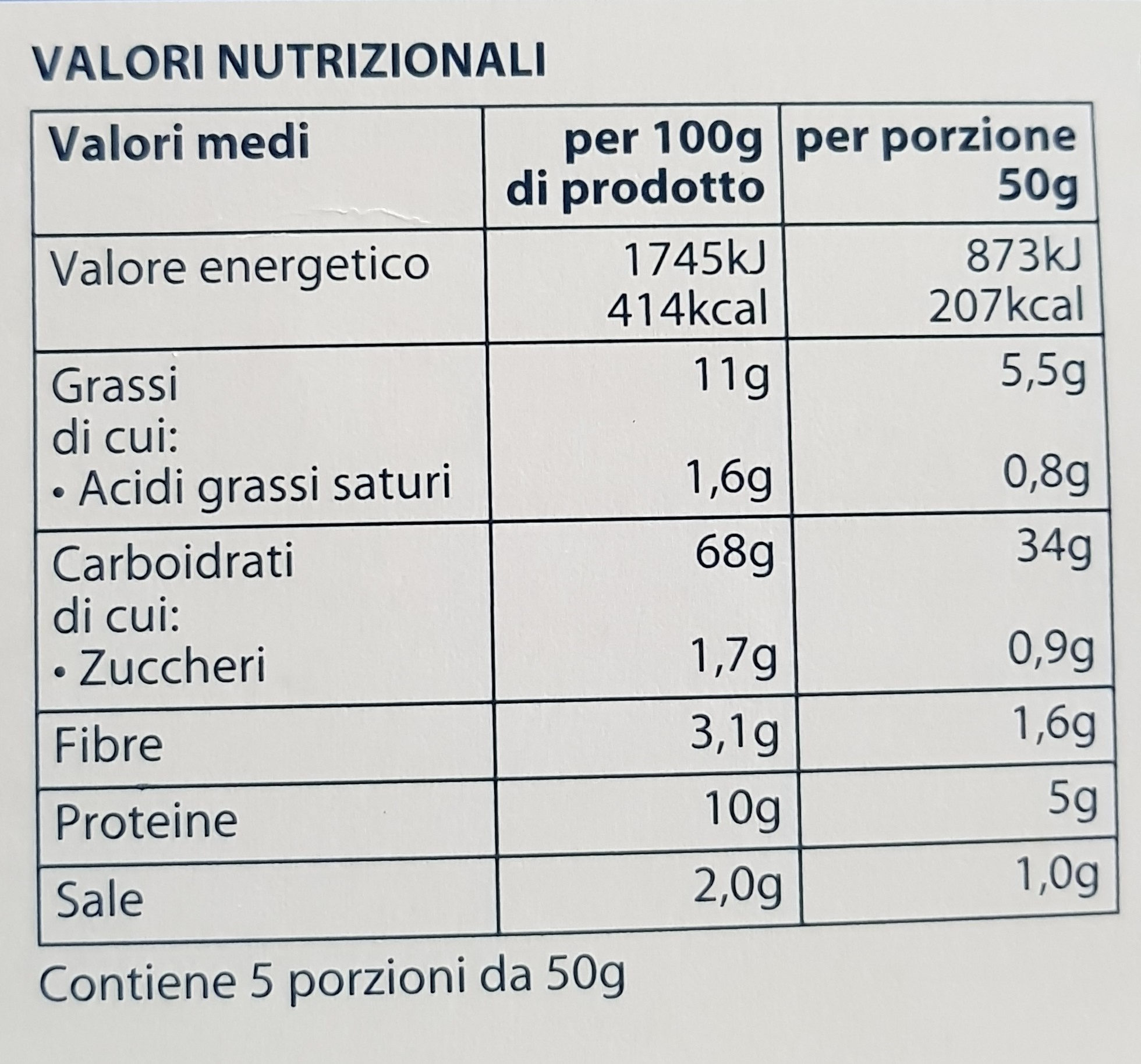 Grissini Rubatà - Nutrition facts - it